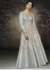 Satin Silk Embroidered Work Readymade Classic Gown - 1