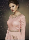 Satin Silk Embroidered Work Readymade Floor Length Gown - 2