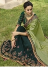 Bottle Green and Mint Green Beads Work Half N Half Trendy Saree - 1