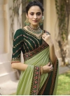 Bottle Green and Mint Green Beads Work Half N Half Trendy Saree - 2