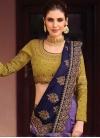 Satin Silk Navy Blue and Purple Trendy Saree For Bridal - 2