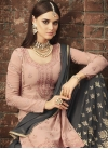 Faux Georgette Grey and Peach Embroidered Work Designer Palazzo Suit - 2