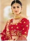 Beads Work Banarasi Silk Peach and Red Designer A Line Lehenga Choli - 1