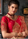 Peach and Red Art Silk Trendy Saree - 1