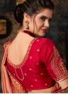 Peach and Red Art Silk Trendy Saree - 2