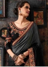 Embroidered Work Black and Grey Designer Contemporary Style Saree - 1