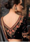 Embroidered Work Black and Grey Designer Contemporary Style Saree - 2