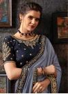 Satin Georgette Embroidered Work Contemporary Saree - 1