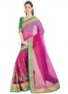 Brasso Green and Rose Pink Embroidered Work Classic Saree - 1