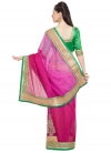 Brasso Green and Rose Pink Embroidered Work Classic Saree - 2
