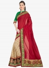 Cream and Red Faux Georgette Half N Half Saree - 1