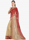 Beige and Tomato Embroidered Work Designer Half N Half Saree - 1