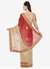 Beige and Tomato Embroidered Work Designer Half N Half Saree - 2