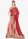 Faux Chiffon Red and Salmon Half N Half Trendy Saree For Ceremonial - 1