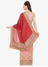 Faux Chiffon Red and Salmon Half N Half Trendy Saree For Ceremonial - 2