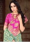 Aqua Blue and Rose Pink Thread Work Designer Contemporary Style Saree - 1