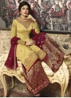 Crimson and Yellow Palazzo Style Pakistani Salwar Suit - 1