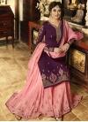 Purple and Salmon Faux Georgette Sharara Salwar Kameez - 1