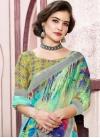 Blue and Mint Green Linen Traditional Designer Saree - 1