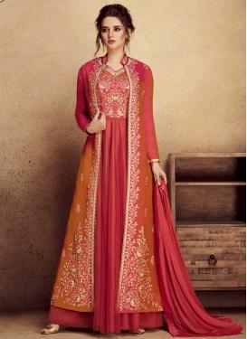 Aari Work Art Silk Jacket Style Salwar Kameez