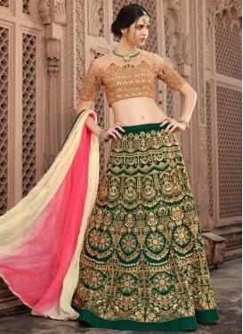Aari Work Banglori Silk Designer A Line Lehenga Choli