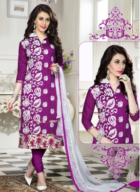 Aari Work Cotton Trendy Churidar Salwar Kameez