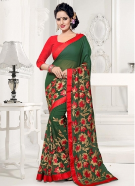 Aari Work  Faux Georgette Contemporary Saree