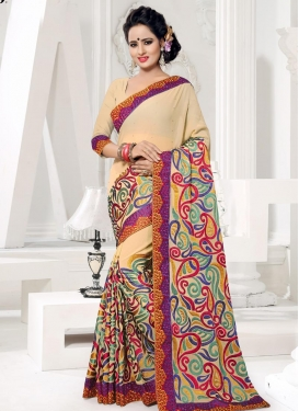 Aari Work Faux Georgette Traditional Saree