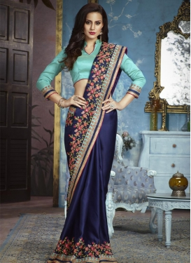 Aari Work Navy Blue and Turquoise Trendy Classic Saree