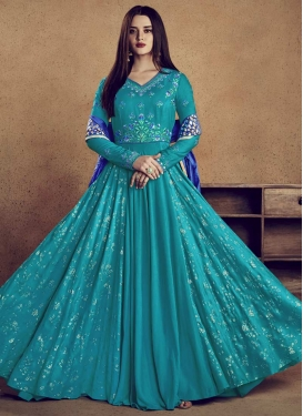 Aari Work Readymade Long Length Gown