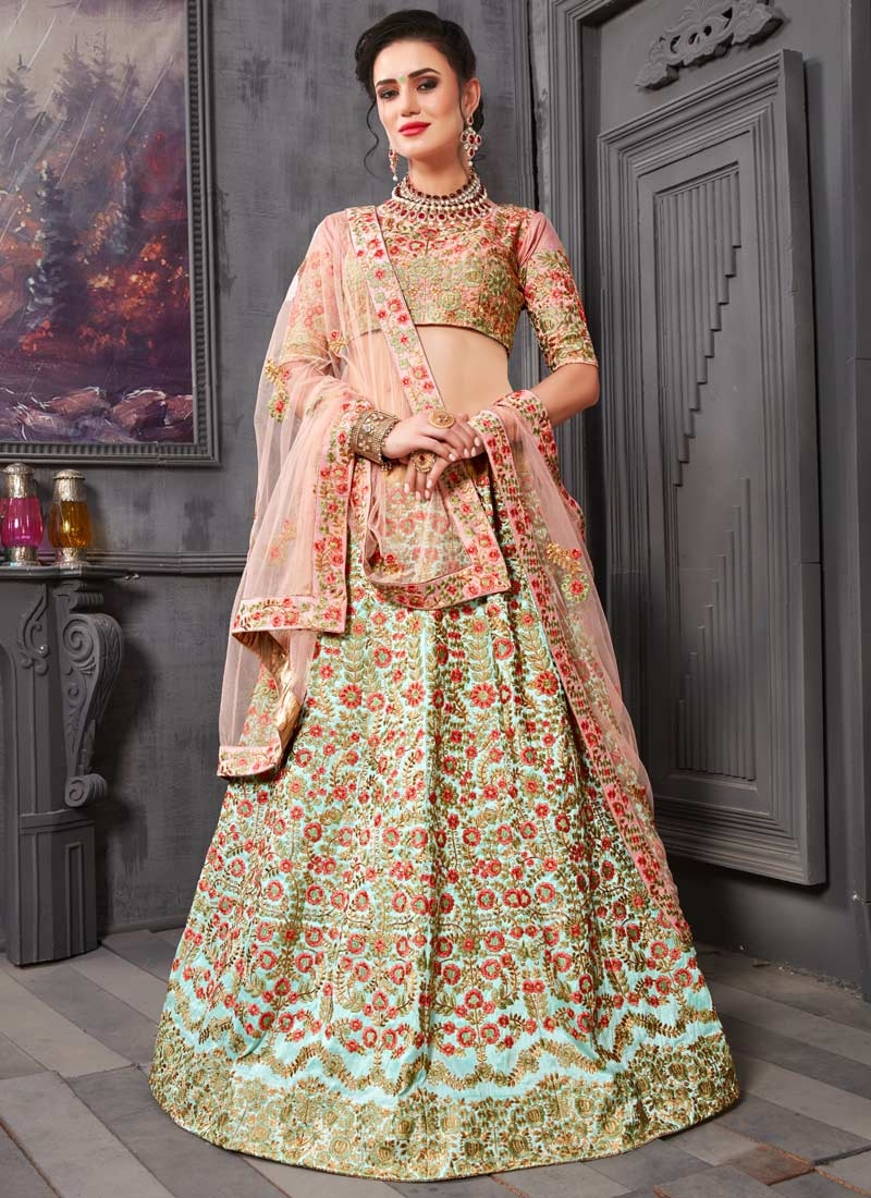 Aari Work Salmon and Turquoise Lehenga Choli