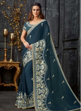 Aari Work Tissue Designer Contemporary Saree