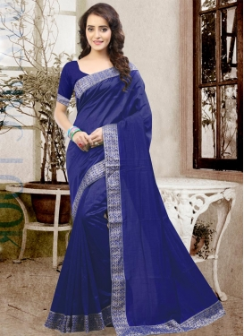 Absorbing Art Silk Lace Work Trendy Classic Saree For Ceremonial
