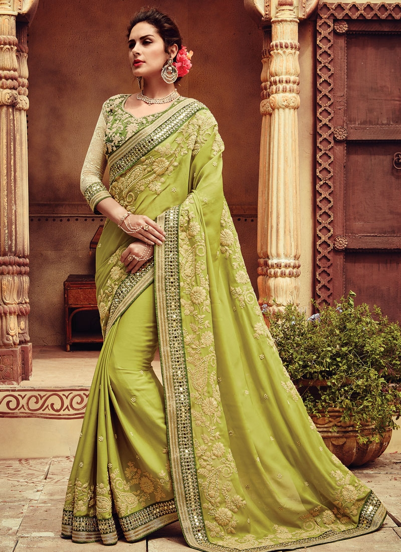 Absorbing Beads And Mirror Work Wedding Saree