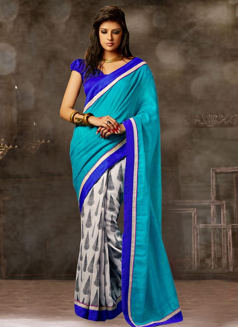 Absorbing Bhagalpuri Silk Half N Half Casual Saree