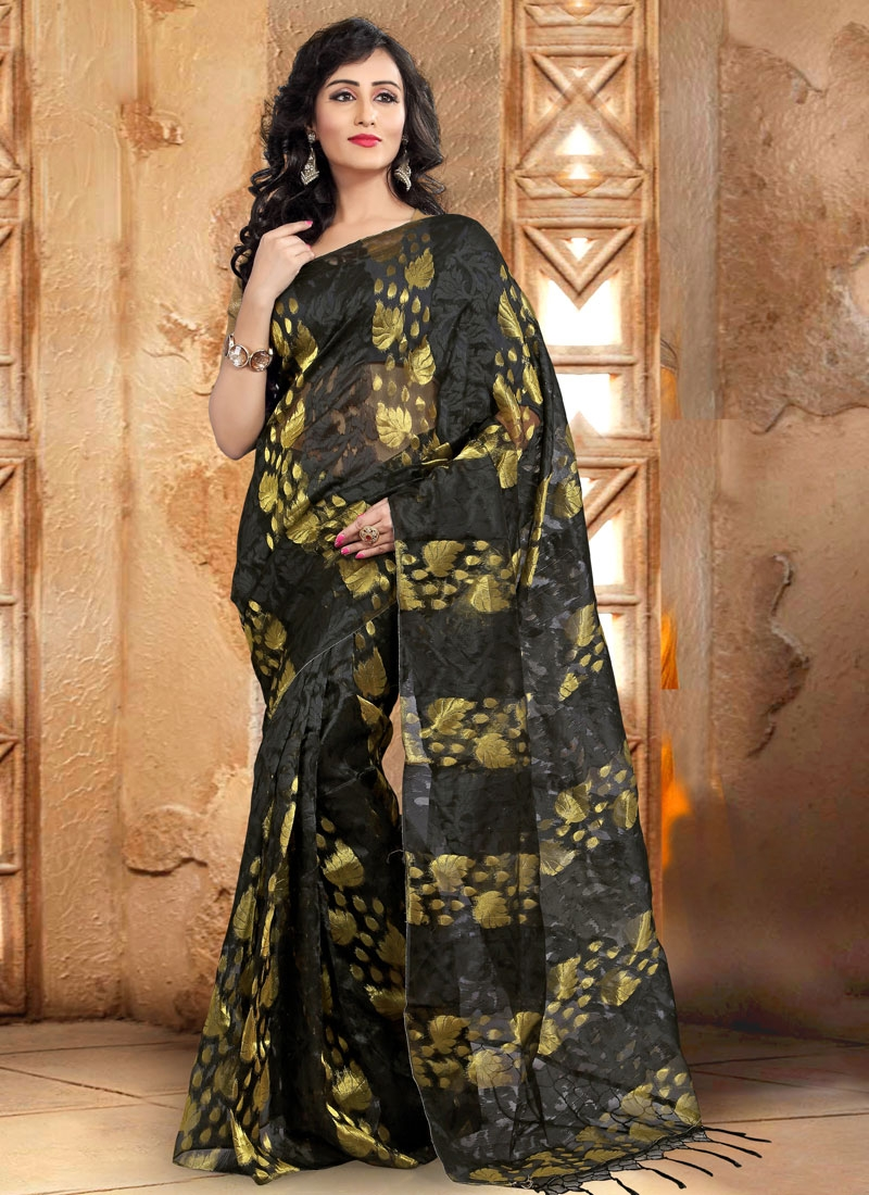 Absorbing Black Color Casual Saree