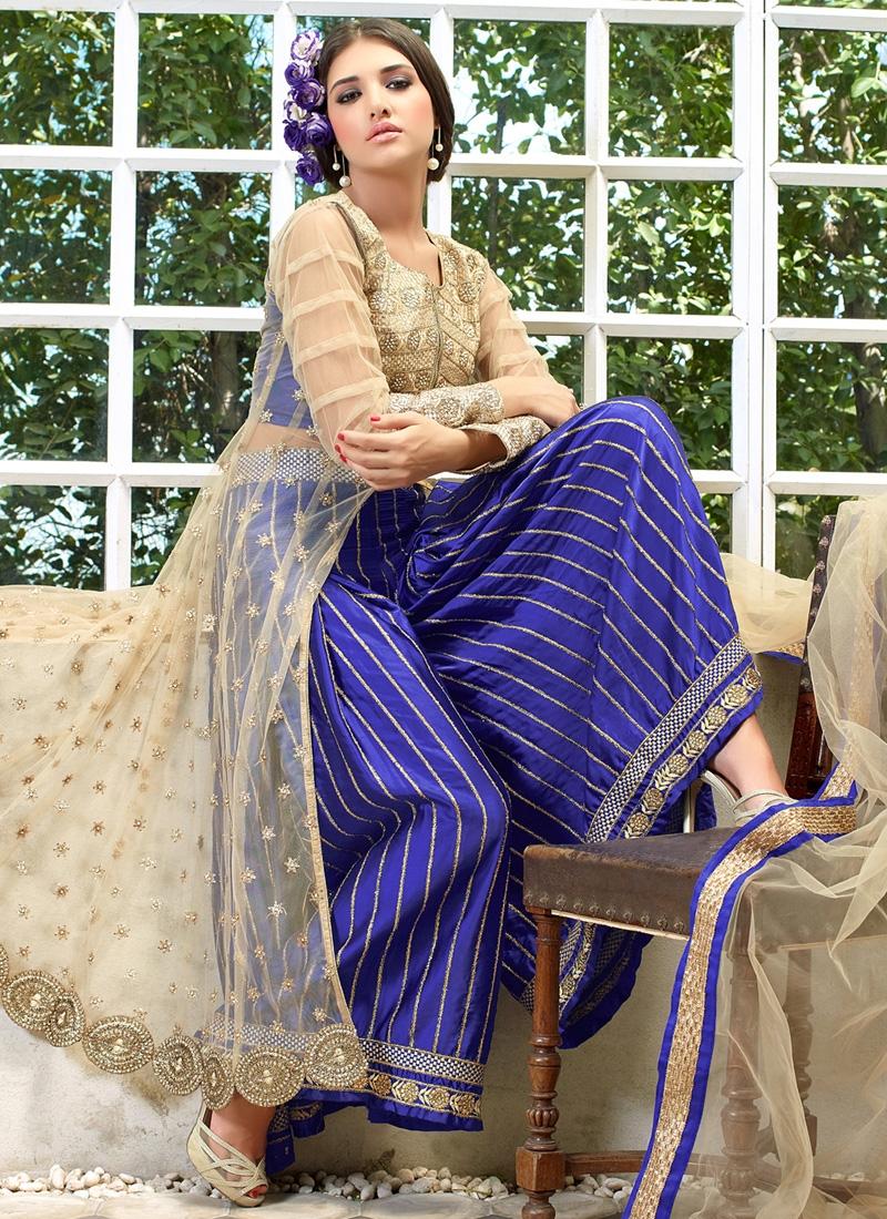 Absorbing Blue Color Resham Work Palazzo Style Designer Salwar Kameez