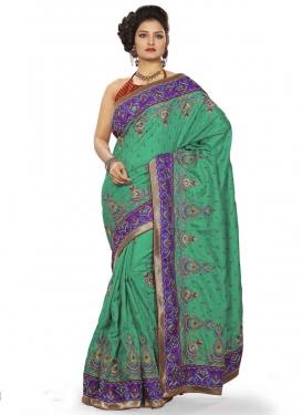 Absorbing Booti Work Silk Designer Saree