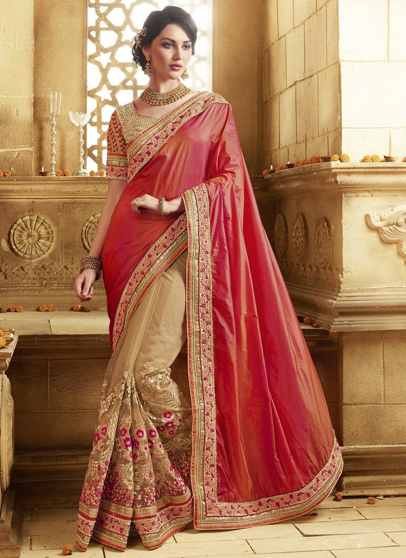 Absorbing Floral Work Fancy Fabric Half N Half Wedding Saree
