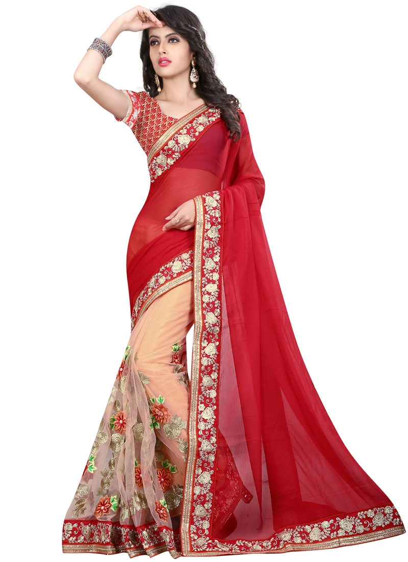 Absorbing Floral Work Net Half N Half Wedding Saree