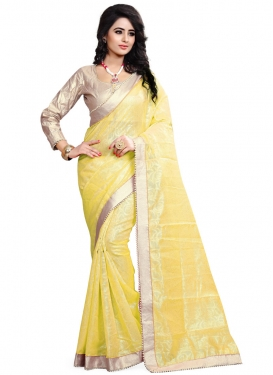 Absorbing Lace And Beads Work Party Wear Saree