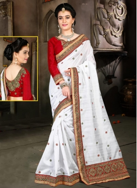 Absorbing  Lace Work Bhagalpuri Silk Red and White Designer Contemporary Style Saree For Festival