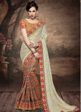Absorbing Lace Work Silk Half N Half Designer Saree