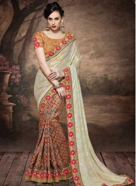 Absorbing Lace Work Silk Half N Half Designer Saree