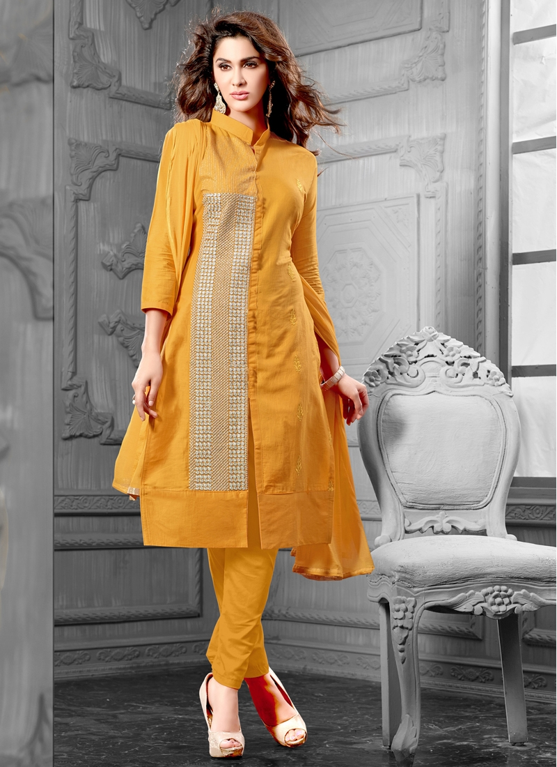 Absorbing Mustard Color Pant Style Casual Suit