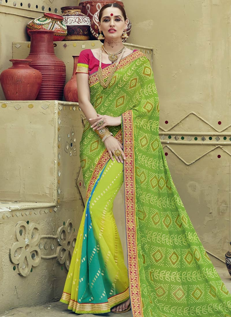 Absorbing Printed Lace Work Party Wear Saree