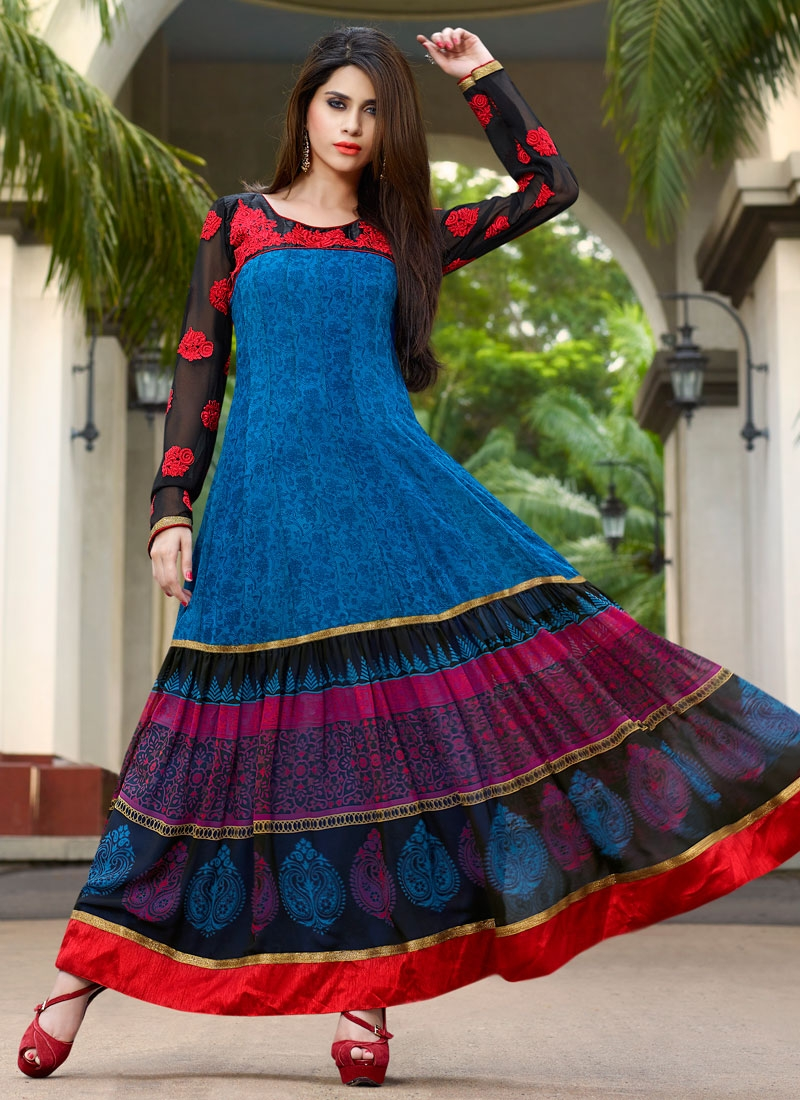 Absorbing Printed Long Length Party Wear Salwar Suit