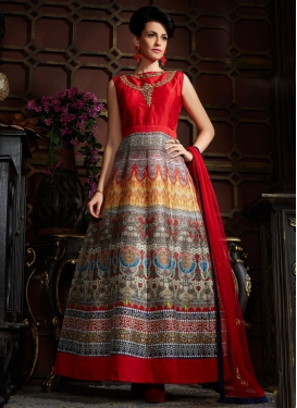 Absorbing Red Color Digital Printed Readymade Designer Gown
