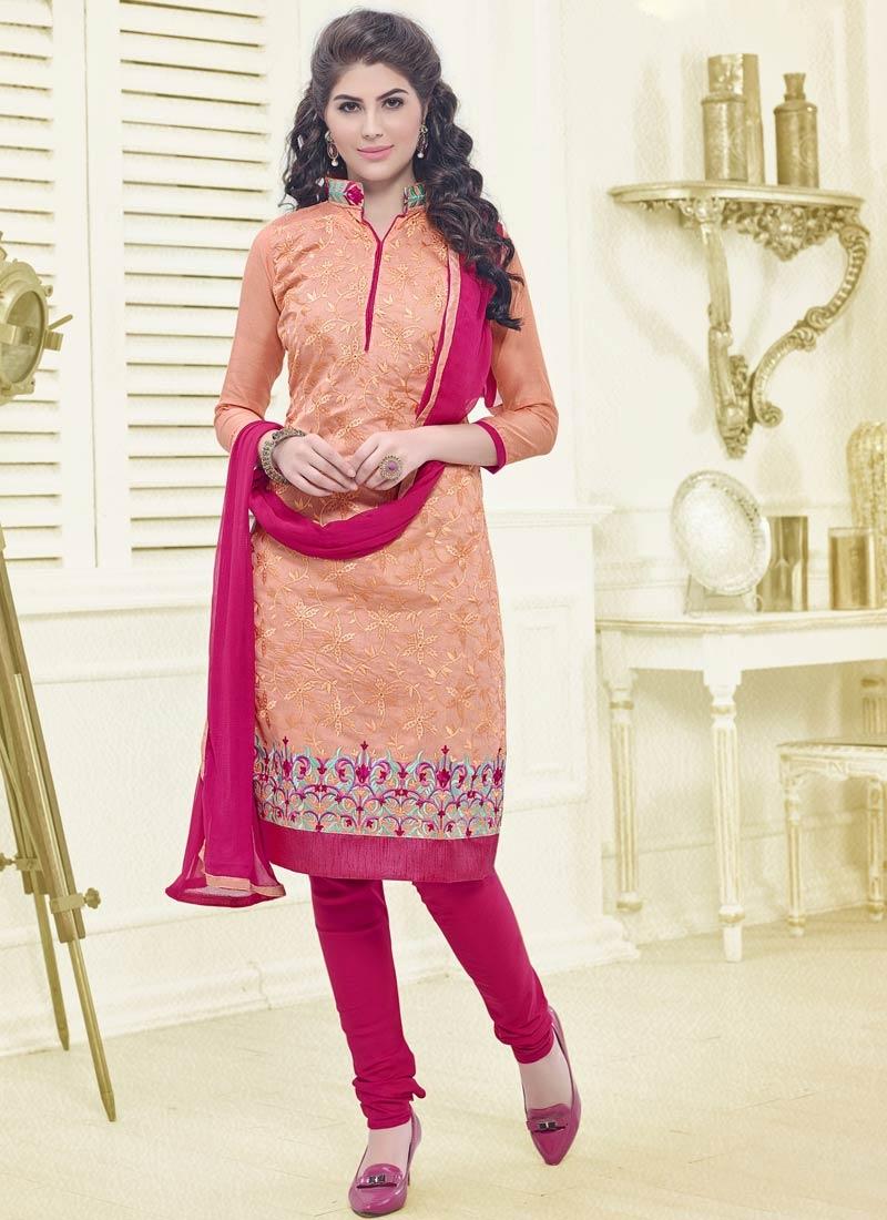 Absorbing Resham Work Peach Color Casual Salwar Kameez