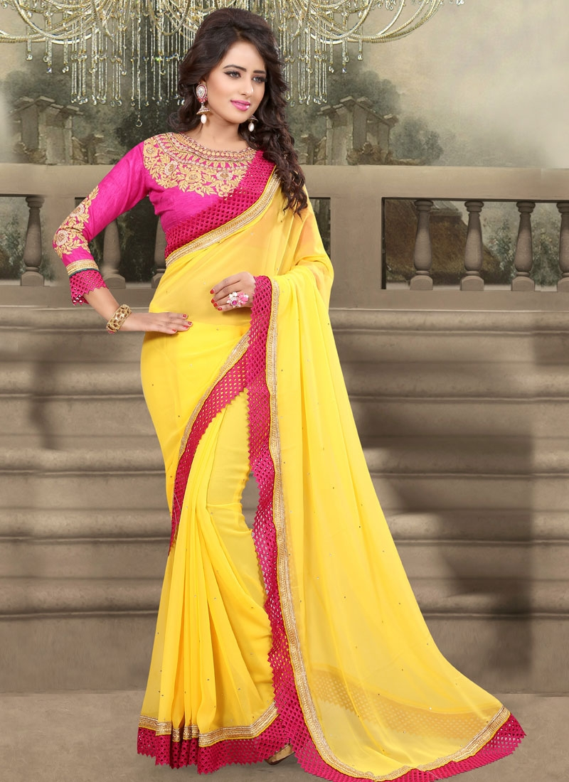 Absorbing Stone And Resham Work Party Wear Saree